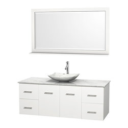 """Wyndham Collection - Centra 60"""" White Single Vanity, White Carrera Marble Top, Carrera Marble Sink - Simplicity and elegance combine in the perfect lines of the Centra vanity by the Wyndham Collection. If cutting-edge contemporary design is your style then the Centra vanity is for you - modern, chic and built to last a lifetime. Available with green glass, pure white man-made stone, ivory marble or white carrera marble counters, with stunning vessel or undermount sink(s) and matching mirror(s). Featuring soft close door hinges, drawer glides, and meticulously finished with brushed chrome hardware. The attention to detail on this beautiful vanity is second to none."""