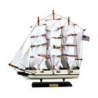 Clipper Ship Desk Model - White and navy clipper ship model. This piece is in excellent vintage condition.