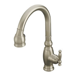 Kohler - Kohler K-690-BN Vibrant Brushed Nickel Vinnata Kitchen Sink Faucet - The K-690 Kitchen sink faucet is designed to fashionably match your decor. The K-690-BN features solid brass construction for durability and reliability.