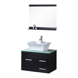 """Design Element - Design Element Madrid Espresso Wall-Mount Single Vessel Vanity Set - 30"""" - The Madrid 30"""" Vanity set is elegantly constructed of solid hardwood. The tempered glass counter tops natural aqua color brings a clean and contemporary look to any bathroom. Seated at the base of the ceramic designer sink is a chrome finished pop up drain designed for easy one touch draining. Mirror with matching espresso accent shelving is included. Built into the vanity are two drawers and a soft closing cabinet. The Madrid Bathroom Vanity is designed as a center piece to awe-inspire the eye without sacrificing quality, functionality or durability."""