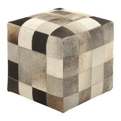 Ravishing Styled Wood Leather Ottoman - Description: