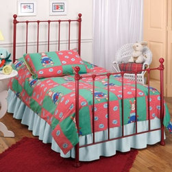 Molly Youth Transition Bed by Hillsdale - A new spin on an old standard! The transitional Molly youth bed comes in four fun color options: red blue green and yellow. Powder coated paint finish ensures durability and long-lasting shine. Fully welded tubular construction with 7 inches between rails on the headboard and footboard. Available in twin and full size. Frame included. About Hillsdale FurnitureLocated in Louisville Ky. Hillsdale Furniture is a leader in top-quality affordable bedroom furniture. Since 1994 Hillsdale has combined the talents of nationally recognized designers and globally accredited factories to bring you furniture styling and design from around the globe. Hillsdale combines the best in finishes materials and designs to bring both beauty and value with every piece. The combination of top-quality metal wood stone and leather has given Hillsdale the reputation for leading-edge styling and concepts.