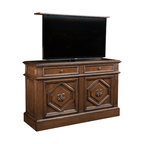 """Traditional TV lift cabinet, US Made Montage available in 16 Designer finishes - TV Lift furniture Cabinet,  Montage in Antique Caramel by """"Best of Houzz 2014"""" for service, Cabinet Tronix."""