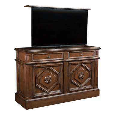 "Traditional TV lift cabinet, US Made Montage available in 16 Designer finishes - TV Lift furniture Cabinet,  Montage in Antique Caramel by ""Best of Houzz 2014"" for service, Cabinet Tronix."