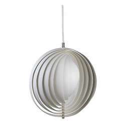 Verpan - Panton Moon Pendant Small - You'll be over the moon for this celestially inspired pendant lamp designed by Verner Panton. A chic sphere crafted from fanned rings of metal that gently reflect light, it emits a dreamy glow — and dramatic style.