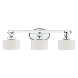 Quoizel - Quoizel DW8603C Downtown Modern/Contemporary Bathroom/Vanity Light - Cool, sleek sophistication is written all over this design. Gleaming glass ball accents complement the opal etched glass drum shade and shiny chrome finish, bringing a soft modern sensibility to your home.