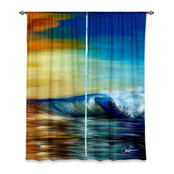 """DiaNoche Designs - Window Curtains Lined by Corina Bakke - Maui Wave II - DiaNoche Designs works with artists from around the world to print their stunning works to many unique home decor items.  Purchasing window curtains just got easier and better! Create a designer look to any of your living spaces with our decorative and unique """"Lined Window Curtains."""" Perfect for the living room, dining room or bedroom, these artistic curtains are an easy and inexpensive way to add color and style when decorating your home.  This is a woven poly material that filters outside light and creates a privacy barrier.  Each package includes two easy-to-hang, 3 inch diameter pole-pocket curtain panels.  The width listed is the total measurement of the two panels.  Curtain rod sold separately. Easy care, machine wash cold, tumble dry low, iron low if needed.  Printed in the USA."""