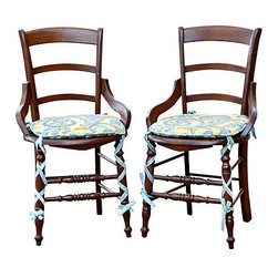 """n/a - Consigned Antique English Country Chairs, Pair - Antique pair of English country chairs with cane seats and turned legs. Chairs have two new tied back cushions, one side is a paisley and the other stripes, all color coordinated. Chairs are in very good condition for its age, very sturdy due to the original early (multiple stretchers) construction. Seat (without cushion0, 17.75""""H; seat (with cushion), 18.75""""H."""