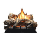 "Empire - Manual 6-piece 30"" Ceramic Fiber Log Set - Liquid Propane - Toss The Matches, Grab the Remote Control: The Flint Hill Log Set features richly detailed, hand - painted logs mounted atop the new vent - free Contour Burner. This complete set includes glowing embers to add to the illusion of a real wood fire at any heat setting. This competitively priced log / burner combo requires a minimum firebox depth of just 12"", making Flint Hill the ideal log set for existing fireplaces and fireboxes, and for new construction. Includes an Oxygen Depletion System (ODS) to quickly shut off the gas if room oxygen levels drop to unsafe levels. Vented / Vent - Free burners convert to Vented by opening the fireplace damper."