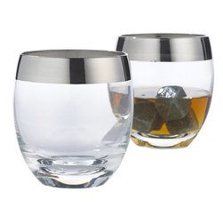 Wine Enthusiast - Wine Enthusiast Madison Avenue Whiskey Glasses - You might think that you're closing a '60s executive ad deal when you toast from these sleek whiskey glasses. These classics are made of mouth-blown, lead-free crystal and feature iconic silver-tone rims. So, do you take your whiskey straight or on the rocks?