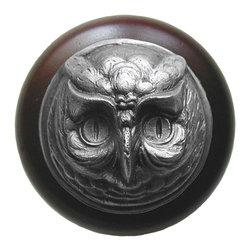 Lodge & Nature Hardware - Antique Pewter Wise Owl Wood Knob in Walnut Finish