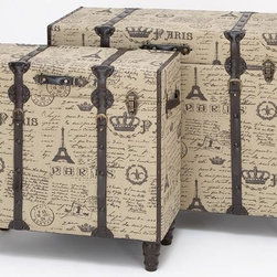 Home Decorators Collection - Paris Fabric Trunks - Set of 2 - With their grand scale, this set of two Paris Fabric Trunks are big enough to be used as end table. Supported by the wood construction and beautifully turned legs, the trunks are crafted of light grey and black fabric depicting scenes from Paris. Handles provide easy lifting. Wood construction.