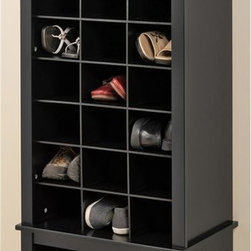 Prepac - 61.25 in. Tall Shoe Cubbie Cabinet - Twenty four spacious cubbies can fit mens size thirteen shoes. Large bottom compartment. Sturdy MDF backer. Warranty: Five years. Made from CARB-compliant, laminated composite woods. Hide-the-scuffs black finish. Made in North America. Cubbie: 6.5 in. W x 14 in. D x 5 in. H. Overall: 24.75 in. W x 15.75 in. D x 61.25 in. HDont hide your favorite shoes at the back of the closet! Our stylish tall shoe storage cabinet is a perfect fit for any foyer, mudroom, entryway or bedroom.