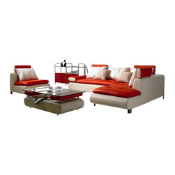 VIG Furniture - B205 White & Red Top Grain Leather Sectional Sofa Set With Chair and Ottoman - The B205 sectional sofa set will be the perfect addition for any living room looking to add a modern touch. This sectional comes upholstered in a beautiful two-tone white and red top grain leather in the front where your body touches. Skillfully chosen match material is used on the back and sides where contact is minimal. High density foam is placed within the cushions for added comfort. With the red leather on the seating area and backrests and white leather making up the base of the pieces. The sectional sofa set features a matching chair and ottoman that come included.