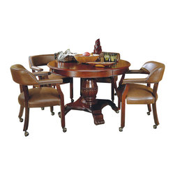 Steve Silver Company - Steve Silver Company Tournament 5 Piece Dining Set in Cherry - Steve Silver Company - Dining Sets - TU5050TBTU500APKG - Steve Silver Company Tournament 5 Piece Dining Set in Cherry