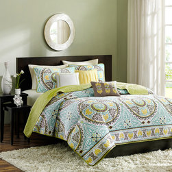 Madison Park - Madison Park Bali 6-piece Coverlet Set - Spruce up your bedroom with this pretty six-piece coverlet set. This lovely ensemble features warm shades that are at home within any decorating scheme,and three pillows provide extra comfort. Intricate embroidery escalates the look.