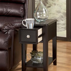Signature Design by Ashley - Single Drawer Chairside End Table in Dark Fin - Single Drawer. Color: Almost Black. 13 in. L x 22 in. W x 23 in. H (33 lbs)