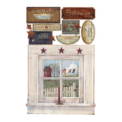 RoomMates - Outhouse Window and Signs Peel & Stick Giant Wall Decal - Give any bathroom a classic country feeling in just seconds with these easy to apply wall decals. Our country wall decor can be placed on any smooth surface, removed, and repositioned at any time. This set includes a large window with a view of an outhouse, as well as matching bath-themed country signs. Use these decals to transform any bathroom from blah to wow in a matter of moments!