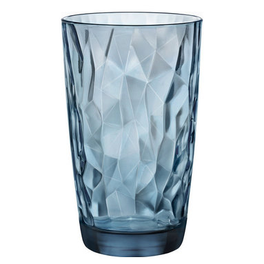 Inova Team -Contemporary Glass - Set of 6, Blue - Each glass features a fantastically faceted interior and a smooth, easy-to-grip body that has a pleasing heft in the hand. Nicely sized for tall drinks of water, this set of six glasses is a versatile, durable addition for sophisticated mixing and matching with other everyday tableware.