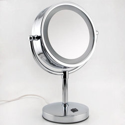 Halo Pedestal Lighted Mirror - Place the Halo Pedestal Lighted Mirror on any vanity top or make-up table for the convenience of a lighted magnification mirror at your fingertips.