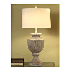 "Crestview - Crestview CVAUP523 Avalon Carved Wood Table Lamp - Avalon Carved Wood Table Lamp Bleached Wood Finished Resin Lamp (17 x 18 x 11"" Off-White Linen Shade)  34.5"" Ht."