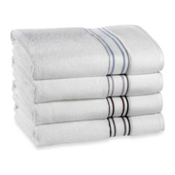 "Wamsutta - Wamsutta Bath Towel in Colors - The simple, classic design of the Wamsutta Towel Collection updates any bathroom with a stylish and clean look. Crisp white towel features a simple striped bottom border. Bath Towel measures 30"" x 56"". Each size sold separately."