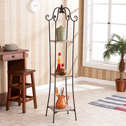 Upton Home - Upton Home Eiffel 3-Tier Tower - This Upton Home Eiffel 3-tier tower radiates gorgeous vintage style while offering 3 shelves for storage and display. The burlap finish with charming printed designs combine with a beautiful black scrollwork frame for the perfect accent piece.