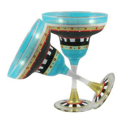 Golden Hill Studio - Mosaic Chalk Margarita Glasses Set of 2 - You've invited your friends and a few neighbors to your house. You're trying out some new appetizers on the crowd. So why introduce more drama? Answer: because it's kind of fun. These dramatic margarita glasses will definitely up the interest at your next party.