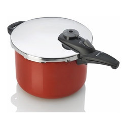 "Fagor - Cayenne Stainless Steel Pressure Cooker, 8 Qt. - Fagor's NEW Cayenne color pressure cooker adds a splash of ""flavor"" to any kitchen.Crafted from 18/10 Stainless Steel designed with sleek and ergonimically designed handles for easier opening and closing."