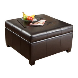Best Selling Home - Richmond Leather Storage Ottoman in Espresso - Large interior storage space. Gas shock hinges. Smooth and safe opening. Darkly stained sturdy wooden frame. 31 in. L x 31 in. W x 18.5 in. H
