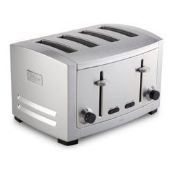 All-Clad Stainless Steel 4-Slice Toaster - Sometimes luxury is just the basics at their best, as in the case of the All-Clad Stainless Steel 4-Slice Toaster. It's designed for beauty and durability, with high-quality stainless steel construction in a die cast finish. It features four nicely sized slots with browning controls for either side, so you and your breakfast mate can each choose from six light to dark settings. The high-lift levers were designed with smaller pieces and specialty breads in mind, and the convenient push-button cancel function lets you stop toasting in mid-cycle for breakfast on the go. With 1800 watts of toasting power and a removable crumb tray for easy cleaning, this All-Clad toaster is an elegant example of design that overlooks no detail.About All-CladFounded in 1971 in Canonsburg, Pennsylvania, All-Clad Metalcrafters produces the world's finest cookware in its Southwestern Pennsylvania rolling mill, using the same revolutionary processes that they introduced forty years ago. Today, All-Clad is the only bonded cookware that's handcrafted by American craftsmen using American-made metals. Originally founded to meet the highest standards of professional chefs, All-Clad has become the premier choice of cookware enthusiasts of all experience levels, from world-class chefs to passionate home cooks in everyday American kitchens.The unsurpassed quality and performance of All-Clad cookware is derived from its innovative roll bonding process, which uses a proprietary recipe of metals. Cladding is applied not just to the bottom, but also up the sides of each All-Clad cooking vessel, providing outstanding heat distribution and reliable cooking results. All-Clad cookware is hand-inspected at every stage of the manufacturing process and is famous for the uncompromising quality that's evident in every detail, from its impeccable balance in your hand to its meticulous hand-finishing.