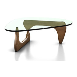 Herman Miller - Noguchi Table, Walnut - This is an authentic Noguchi Table by Herman Miller. Designed by famous Herman Miller collaborator Isamu Noguchi. This glass top coffee table has a well-thought out design that utilizes a heavy triangular glass top with rounded edges and two symmetric wooden legs that create a transparent appearance. This is perhaps the most celebrated coffee table of all time. Herman Miller has had a relationship with Noguchi and with the Noguchi Foundation for more than 60 years. They began manufacturing and producing the table in 1947. Thanks to Noguchi's friendship with George Nelson (another Herman Miller partner) a collaboration between Herman Miller and Noguchi was born. It has lasted a long time; Herman Miller is very proud to be the official manufacturers of one of the finest glass top coffee tables ever built.