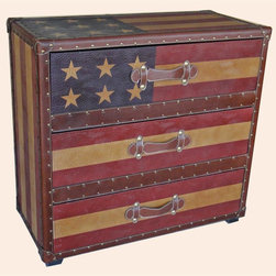 """International Caravan - 3-Drawer """"Stars and Stripes"""" Chest - Assembly required. 33 in. W x 16 in. D x 31 in. H (52 lbs.)Add touch of vintage Americana to your decor with this chest. Its reproduction antique style allows for you to get the timeless style of the antique for the price of the modern."""