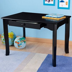 KidKraft Avalon Table - Black - Create Your Own Set! - The KidKraft Black Avalon Table-Create Your Own Set! is the perfect addition to your child's bedroom or playroom. Constructed of sturdy wood and finished in black this table is easy to match with other colors. Plus the black finish hides children's artwork that can sometimes miss its target. The table features a convenient storage drawer for supplies. The tapered legs of this heirloom-quality wooden table flare out gently toward the floor for a touch of modern style. The table drawer dimensions are 19.5L x 24W x 1.5H inches. Storage drawer: 19.5L x 24W x 1.5H inches.Add coordinating chairs to your order for a complete set. Order one chair to make a study desk arrangement or order two or four chairs to encourage group play. See product accessories below to choose the color and quantity of your choice. About KidKraftKidKraft is a leading creator manufacturer and distributor of children's furniture toy gift and room accessory items. KidKraft's headquarters in Dallas Texas serve as the nerve center for the company's design operations and distribution networks. With the company mission emphasizing quality design dependability and competitive pricing KidKraft has consistently experienced double-digit growth. It's a name parents can trust for high-quality safe innovative children's toys and furniture.
