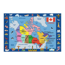 LA Rug Inc - Map of Canada - Your child's room is a natural extension of them. Add these innovative designs from Fun Rugs as a finishing touch to spruce up your child's decor.  Offering a vivid and eye appealing array of colors that will stimulate the mind and imagination of children of all ages.  You will be able to count the compliments of this high quality rug.  Spot clean using mild soap and cold water, not machine washable.