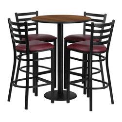 "Flash Furniture - 30"" Round Walnut Table Set with 4 Bar Stools - Burgundy Vinyl Seat - 30 in.  Round Walnut Laminate Table Set with 4 Ladder Back Metal Bar Stools - Burgundy Vinyl Seat"