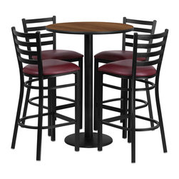 "Flash Furniture - 30"" Round Walnut Table Set with 4 Bar Stools - Burgundy Vinyl Seat - 30 in.  Round Walnut Laminate Table Set with 4 Ladder Back Metal Bar Stools - Burgundy Vinyl Seat"