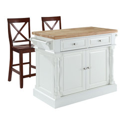 """Crosley - Butcher Block Top Kitchen Island in White Finish with 24"""" Black X-Back Stools - Constructed of solid hardwood and wood veneers, this kitchen island is designed for longevity. The handsome raised panel doors and drawer fronts provide the ultimate in style to dress up any culinary space. Great for food preparation, the butcher block top is a plus in any kitchen. Fully functional doors and drawers on both sides of the cabinet provide beauty and convenience. Behind the doors, you will find adjustable shelves and an abundance of storage space for objects you'd prefer to keep hidden. Deep push-through drawers are great for holding essential items, such as utensils or storage containers. Style, function, and quality make this kitchen island a wise addition to your home."""