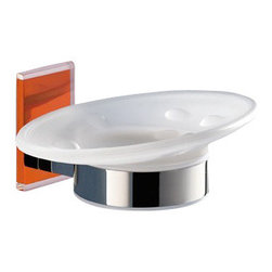 Gedy - Wall Mounted Round Frosted Glass Soap Dish With Orange Mounting - Stylish wall mounted oval shaped frosted glass and brass soap holder with orange thermoplastic resins mounting.