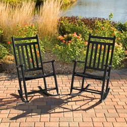 "Pair of Dixie Seating Indoor/Outdoor Slat Rocking Chairs -Black - With this charming set of two rocking chairs you'll be able to share peaceful moments outdoors or indoors with welcome company. The Outdoor Black Slat Rocker Set includes two solid wood rocking chairs crafted in authentic American style and suitable for indoor and outdoor use. When you order this money-saving set you receive two high-quality chairs at an affordable price. Crafted from durable ash wood right here in the USA these rockers offer quality you can trust. The protective black finish is designed to withstand the elements but it'll also enhance the atmosphere of your porch nursery or living room. The rocking chair armrests and contoured seats will provide ergonomic comfort as you sit back and enjoy a well-deserved moment of respite with someone special. Exclusive 18- x 18-inch seat pads designed to fit these rockers are available for added comfort.Easy AssemblyThis rocker ships flat with some assembly required. We recommend a preliminary assembly without gluing to be sure you have all pieces in the correct position. All necessary hardware is included. Assembly takes approximately 30 minutes.About Dixie SeatingIn business since the early 1900's Dixie Seating Company is a premier manufacturer of solid hardwood ladder back chairs rockers stools and children's furniture. They offer classic comfortable colorful furniture with American-made craftsmanship solid wood construction and affordability. Serving both the residential and commercial markets Dixie is the largest domestic manufacturer of round posted seating products.All of Dixie Seating's products are manufactured from select grade North American Ash hardwood. Their unique construction techniques use no glue but rather a combination of precisely machined components multiple pressure clamping interlocking wood-to-wood joints and a ""swelled joint"" construction. They use metal fasteners at each joinery to ensure long-lasting strength and years of enjoyment for you and your family. While their techniques are old fashioned and follow the guidelines of traditional hand-built-quality wood working Dixie Seating products are designed for today's lifestyles."