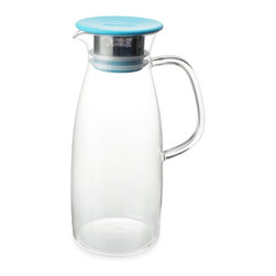 ForLIFE - FORLIFE Mist Glass Ice Tea Jug, 50-Ounce, Turquoise - MIST Ice Tea Jug is designed for a simple way of making the cold-steeping ice tea. The double ring silicone gasket ensures lid from falling off when serving. The 0.5mm hole stainless-steel filter catches tea leaves and gives you smooth pouring. The filter and silicone gasket are easy to take apart for cleaning. True borosilicate hand blown glass can take hot water to ice cold water.