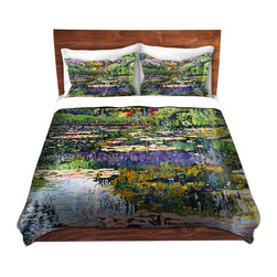 DiaNoche Designs - Duvet Cover Microfiber - Giverny Reflections - Super lightweight and extremely soft Premium Microfiber Duvet Cover in sizes Twin, Queen, King.  This duvet is designed to wash upon arrival for maximum softness.   Each duvet starts by looming the fabric and cutting to the size ordered.  The Image is printed and your Duvet Cover is meticulously sewn together with ties in each corner and a hidden zip closure.  All in the USA!!  Poly top with a Cotton Poly underside.  Dye Sublimation printing permanently adheres the ink to the material for long life and durability. Printed top, cream colored bottom, Machine Washable, Product may vary slightly from image.