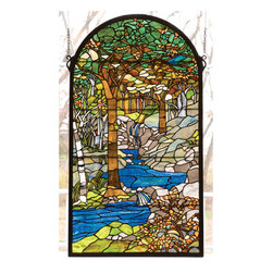 Meyda - 22 Inch W X 40 Inch H Tiffany Waterbrooks Window Windows - Color Theme: Green 59 Oaka Amber Grey