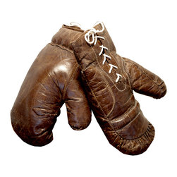 Kathy Kuo Home - Silver dome Vintage Leather Boxing Gloves Wall Decor - Make sure your wall decor packs a stylish punch with these wonderfully worn vintage boxing gloves. Perfect in a game room or for a touch of sports nostalgia anywhere, these laced-up leather beauties are the greatest.