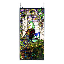 Meyda Tiffany - Meyda Tiffany Tiffany Reproductions Window Sill Tiffany Window Art in Copperfoil - Shown in picture: Tiffany Peacock Wisteria Stained Glass Window; Lavish And Beautiful - Meyda Tiffany's Peacock & Wisteria Window Is A Louis C. Tiffany Reproduction; A Tribute To The Colorful Mastery That Tiffany Achieved. Handcrafted Utilizing The Copperfoil Construction Process And 1 -605 Pieces Of Stained Art Glass Encased In A Solid Brass Frame - Each Window Is A Unique Creation To Be Forever Treasured. Mounting Bracket And Jack Chain Included.