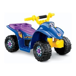 Fisher-Price - Power Wheels Lil Quad Electric Ride-On - The Lil Quad is perfect for children who are ready to try out their very first battery powered ride on vehicle. It's fun, safe, and stylish. Recommended for toddlers, the Lil Quad goes 1 mph forward. Features: -*This item is not available for sale to customers in Puerto Rico*. -6V Battery included. -Forward speed: 2 MPH. -Purple seat and hub caps. -Recommended for ages 12 - 36 months. Looking for expedited shipping on this item? Please give our customer service team a call!