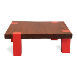 Single Slab Walnut and Lacquer Coffee Table - This contemporary coffee table is made with a single slab of claro walnut and lacquered legs. It can be customized using alternative reclaimed wood types, sizes, and lacquer colors. Customers are encouraged to contact our design team for furniture image requests and to discuss design ideas.