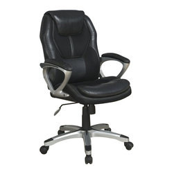 Serta by True Innovations - Serta Office Chair in Puresoft Black Faux Leather - Serta by True Innovations - Office Chairs - 43673 - For more than 75 years Serta has been an industry leader in comfort products worldwide. That tradition of innovation and quality continues today. From a brand that is synonymous with quality comfort and style the Serta executive office chair is upholstered in soft and durable Smooth Black leather with contrasting seams and stylish mesh accents.  This chair features soft pillowed headrest & deep layered body pillows which offer the body a serene and tranquil seating experience. The contoured lumbar provides exceptional support for the lower-back while the sculpted iridescent silver painted arms have pillow soft pads which provide added hand wrist and forearm comfort. The waterfall seat edge is designed to lessen pressure on the back of the legs and increase circulation to reduce fatigue and increase working focus. The pneumatic gas lift adjusts the seat height by a simple flick of the lever. Pulling out the same handle will unlock the recline mechanism and allow you to lean back in comfort. The recline resistance can be adjusted with a turn of the tension knob on the bottom of the seat. Smooth rolling multi-surface dual wheel casters provide easy access to your surrounding work area. The heavy duty five-star base meets or exceeds rigorous BIFMA testing standards up to a 250lbs weight capacity. 1 year limited warranty. Product assembly is required. Designed in the USA. Manufacturer style number is 43673