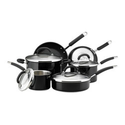 Rachael Ray - Rachael Ray Black Colored Stainless Steel 10-piece Set - This 10-piece stainless-steel cookware set from Rachael Ray provides you with the basic saucepans,stockpots,and skillets you need for cooking. Each pan in the set features a nonstick surface and a silicone handle for safe and easy handling.