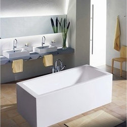 "Aquatica - Aquatica PureScape 323A Freestanding Acrylic Bathtub - White - Treat yourself and soak in peaceful tranquility with Aquatica's stylish and ergonomic PureScape 323A freestanding bathtub. Aquatica challenges everything we thought we knew about a bathtub with the world-class modern design and ergonomic features that are incorporated into all of their luxury tubs. Aquatica Purescape bathtubs are as pleasing to the eye as they are to soak in. Their striking visual appeal adds a mesmerizing modern elegance to any bathroom. From the finest selection of raw materials all the way to the high-class design, Aquatica has spared no expense to innovate and create some of the highest quality bathtubs in the world.Aquatica's bathtubs offer modern glamour at affordable prices. The Aquatica line is diverse enough to encompass both bathtubs with classical elegance that match the style of your bath and bathtub models that are distinctive and unique as the centerpiece of your remodel.FeaturesStriking upscale modern designFreestanding constructionSolid, one-piece construction for safety and durabilityExtra deep, full-body soakErgonomic design forms to the body's shape for ultimate comfortQuick and easy installationConstructed of 8mm thick 100% heavy gauge sanitary grade precision acrylicPremium acrylic and tub thickness provides for excellent heat retentionHigh gloss white surfaceColor is consistent throughout its thickness - not painted onColor will not fade or lose its brilliance overtimePreinstalled cable drive pop up and waste-overflow fitting includedDesigned for one or two person bathingNon-porous surface for easy cleaning and sanitizingBuilt-in metal base frame and adjustable height metal legsChrome plated drain5 Year Limited WarrantyCode compliant with American standard 1.5"" waste outletsSpecifications:Overall Dimensions: 67 in. L X 33.5 in. W X 23 in. HDepth to Overflow Drain: 15 in.Interior Depth: 17.33 in.Interior Length (Top): 56.75 in.Interior Width (Top): 24 in.Interior Length (Bottom): 43.33 in.Interior Width (Bottom): 19.75 in.Weight: 128 lbsCapacity: 59 GallonsShape: RectangleDrain Placement: ReversibleSpec SheetNote: This model usually ships in 1-2 days. Please allow an additional 2-3 business days for order transmittal and verification."